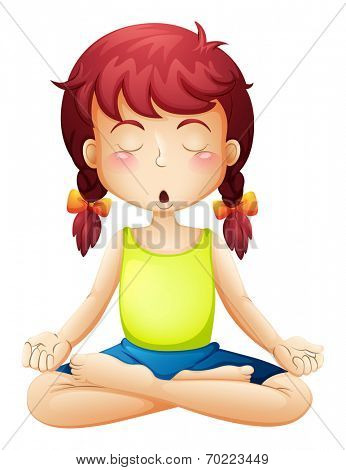 Illustration of a little girl doing yoga on a white background