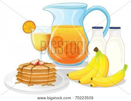 Illustration of the healthy drinks and foods on a white background