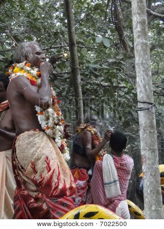 Hindu Shaman Priests Swallow Fire