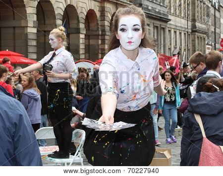 EDINBURGH- AUGUST 16: Members of Lancaster Offshoots publicize their show Neverland during Edinburgh Fringe Festival on August 16, 2014 in Edinburgh Scotland