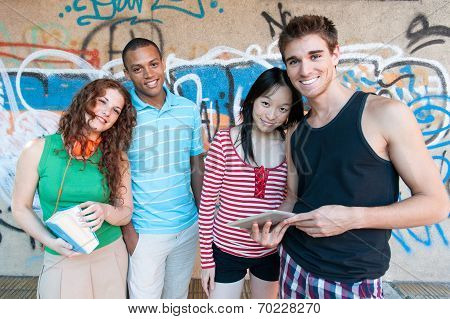 Group Of Cheerful Friends. Multi Ethnic