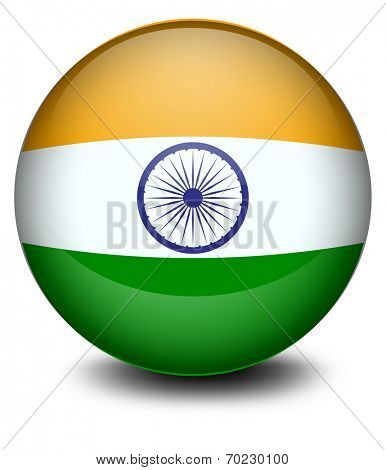 Illustration of a soccer ball with the Indian flag on a white background