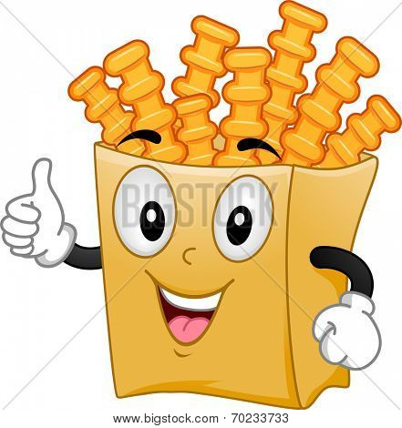Mascot Illustration Featuring a Pack of Crinkle Cut Fries Giving a Thumbs Up
