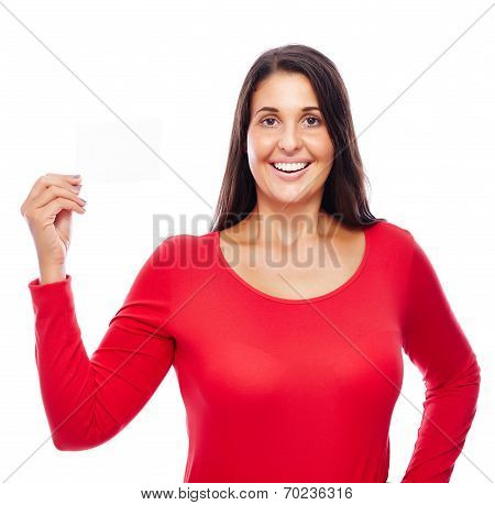 Woman In Red Holding Business Card