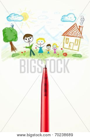 Pen close-up with a paint drawing of a family