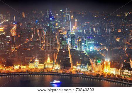 Shanghai urban architecture over Huangpu River at night