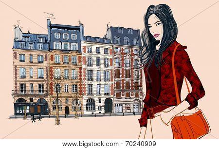 Young asian woman visiting Paris - Vector illustration
