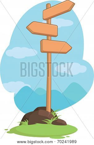Wooden Mountain Guidepost Sign