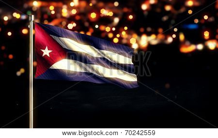 Cuba National Flag City Light Night Bokeh Background 3D