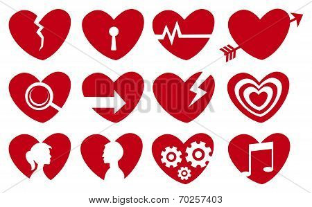 Conceptual Red Heart Icon Set