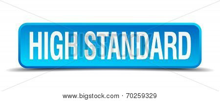 High Standard Blue 3D Realistic Square Isolated Button