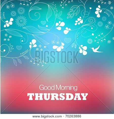 Days of the Week. Thursday. Text good morning Thursday on a green background poster
