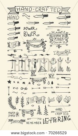 Hand Drawn elements & Banners. 100% vector shape.