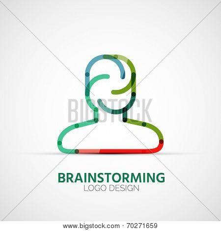 Vector brainstorming company logo design, business symbol concept, minimal line design poster