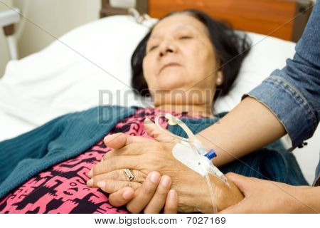 Daughter Caring Sick Elderly Mother