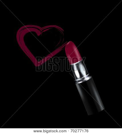 dark background and red-purple lipstick in black with heart poster