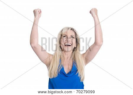 Happy Isolated Middle Aged Woman In Blue With Hands Up.