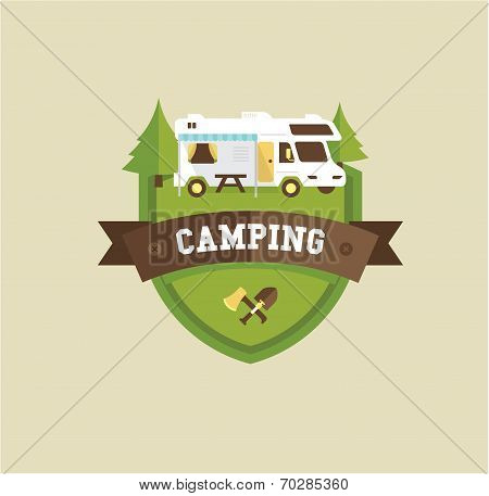 RV camping resort partk flat style illustration poster