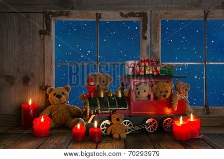 Teddy Bears And Red Candles Decorated On An Old Windowsill Background.