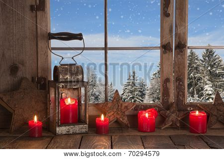 Country Christmas Decoration: Wooden Window Decorated With Red Candles And Latern.