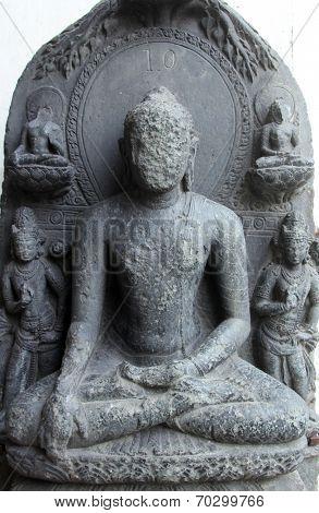 KOLKATA, INDIA - NOV 24: Buddha, from 10th century found in Bihar now exposed in the Indian Museum in Kolkata, on Nov 24, 2012