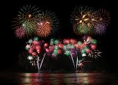 beautiful colorful fireworks display for celebration festival poster
