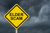 Elder Scam Warning Sign Yellow warning sign with words Elder Scam with a stormy sky background poster