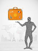 Funny man in full body suit presenting vacation suitcase, tourist attractions in background poster