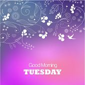Days of the Week. Tuesday. Text good morning Tuesday on a blue background poster