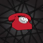 classic telephone in wire web poster