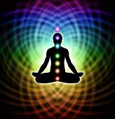 Silhouette  of a man in lotus meditation position with Seven Chakras on rainbow colored matrix energy background poster