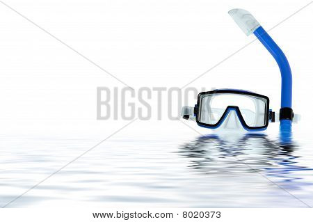 Diving Goggles With Reflection On The Water