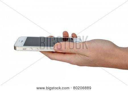 Plzen,Czech Republic - October 11, 2014 : Woman Hand Holding Apple iPhone 5S Smart Phone