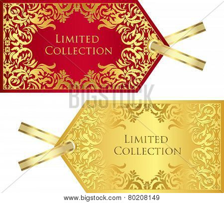Luxury Red And Golden Price Tag With Vintage Pattern