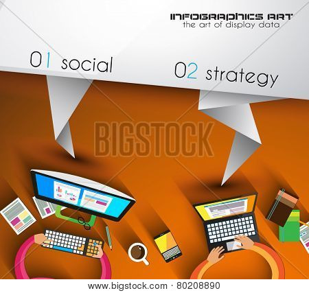 Origami Style Flyer Design,  Brochure Layout orTechnology Background for your infographic business project.