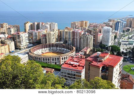 Plaza De Toros And Harbor In Spanish Malaga