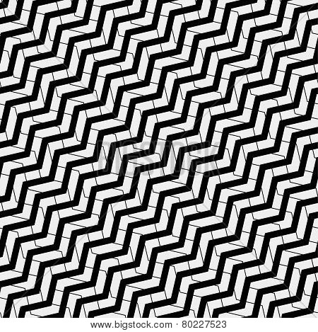 Vector seamless pattern. Modern stylish texture. Repeating geometric tiles with volume diagonal zigz