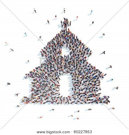 People in the form of  church.