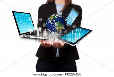 Businesswoman holds modern technology in hands - Stock Image