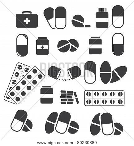 Medicines And Tablets, Pills Capsules Medical. Vector Set Of Black Icons