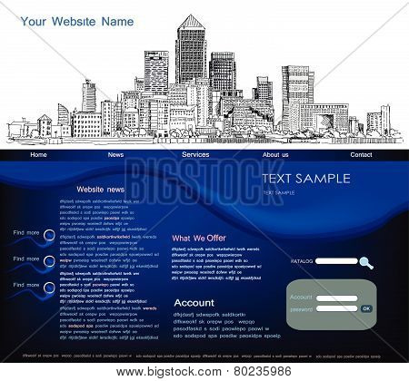 Web page template with modern city illustration