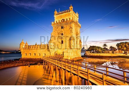 Belem Tower Tower of St. Vincent in the civil parish of Santa Maria de Belem in the municipality of Lisbon, Portugal.