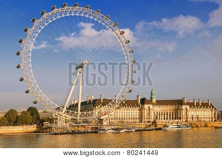 London Cityscape with London Eye in afternoon