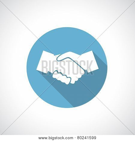 Hands shake icon with shadow.