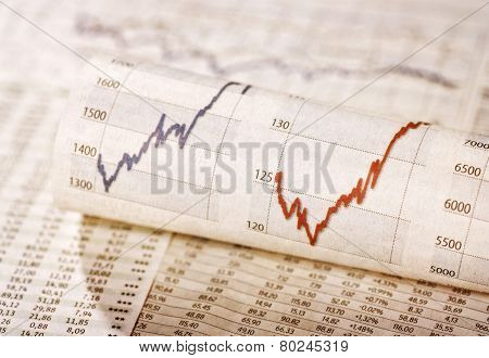 Diagrams with rising share prices and exchange rate tables poster