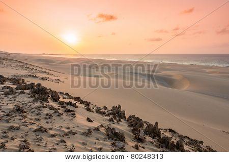 Sunset On Sand Dunes  In Chaves Beach Praia De Chaves In Boavista Island Cape Verde - Cabo Verde