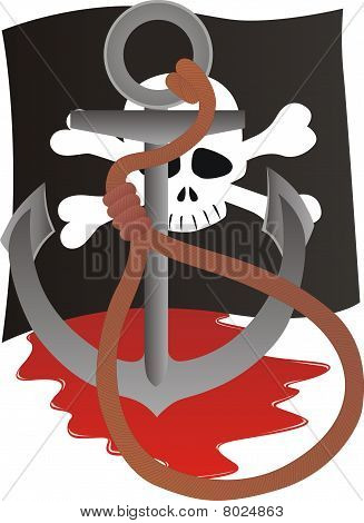 Pirate flag depicting the pirate symbols. An anchor with a noose from the gallows poster