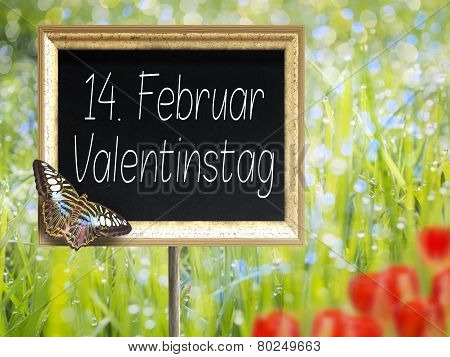Chalkboard With German Text 14. Februar Valentinstag