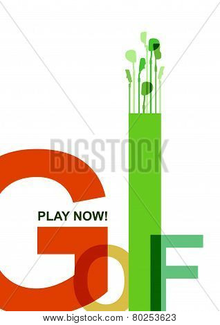 Golf Poster. Postcard. Sport. Play Now. Putters
