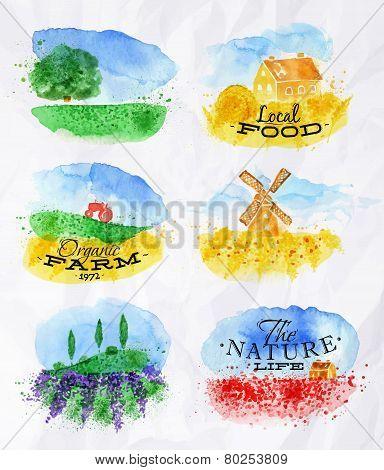 Watercolor Landscapes Symbols